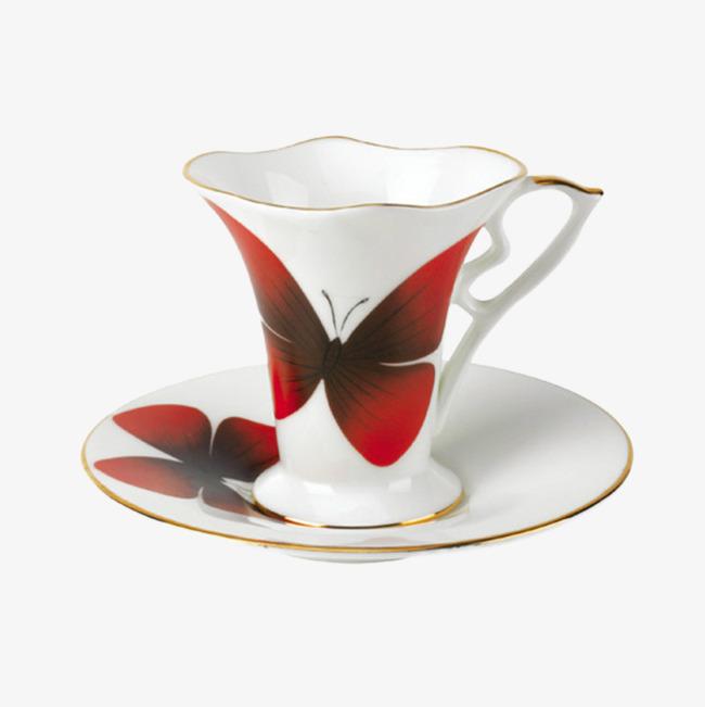 本次咖啡杯碟杯具花纹作品为设计师红色视觉形象设计创作,格式为png