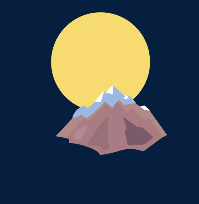 手绘月亮下的富士山