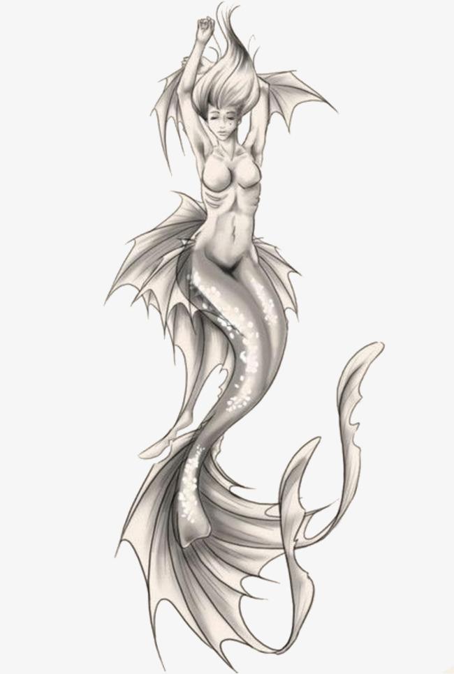 清新手绘素描人鱼