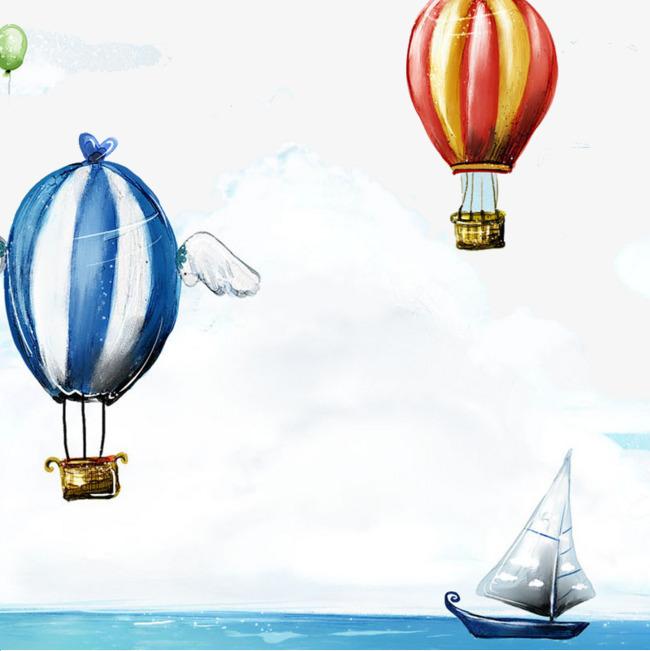 手绘蓝天中的热气球