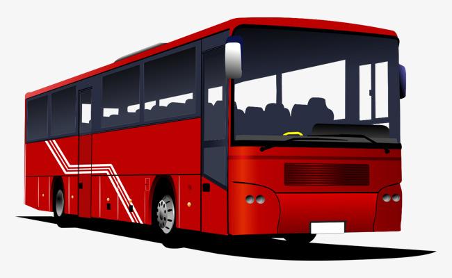 手绘卡通时尚红色公交车