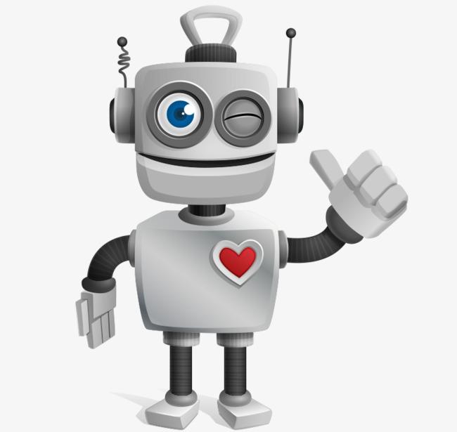 卡通手绘3d立体可爱机器人【高清png素材】-90设计图片