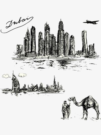 手绘风景城市素描英文字母迪拜-手绘风景素材图片免费下载 高清png