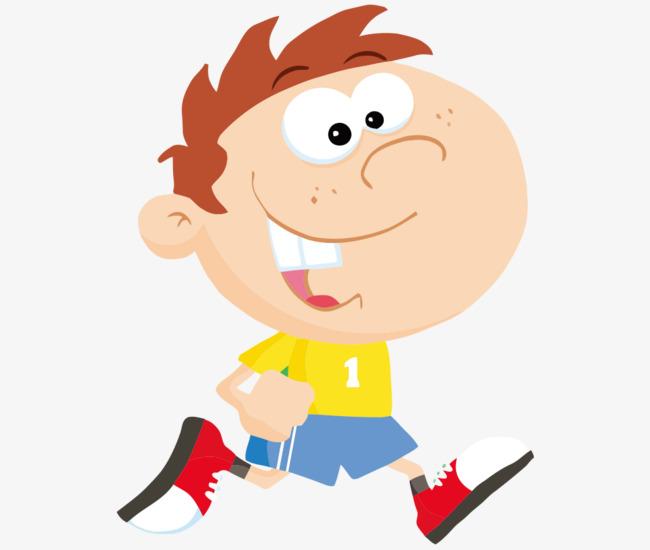 卡通手绘跑步小男孩