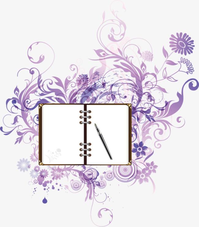 紫色花纹书本边框