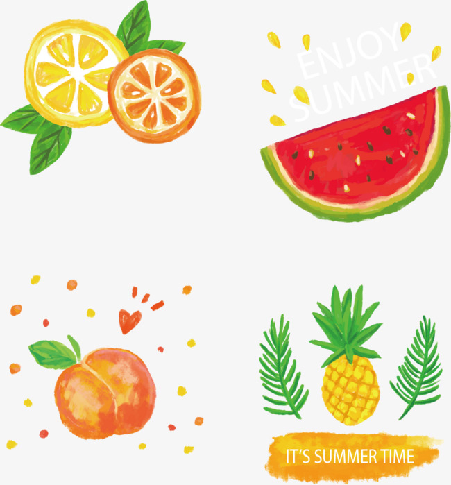 矢量手绘卡通水果矢量手绘水彩插画柠檬西瓜桃子菠萝水彩菠萝水彩凤