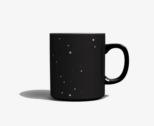 星空黑色马克杯产品实物免抠图【高清产品实物png素材