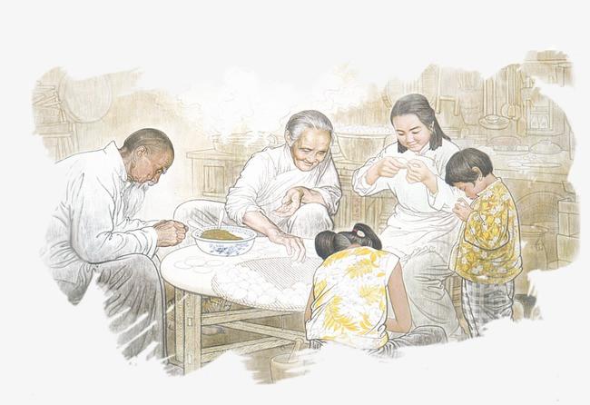 手绘一家人包饺子