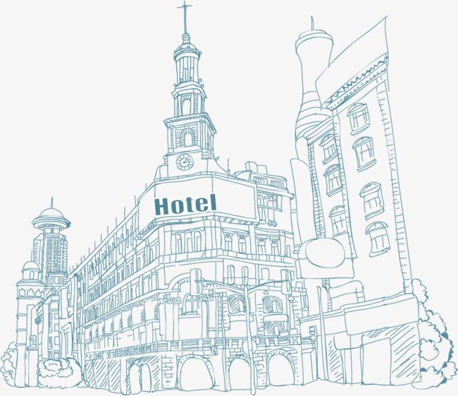 矢量手绘线描建筑