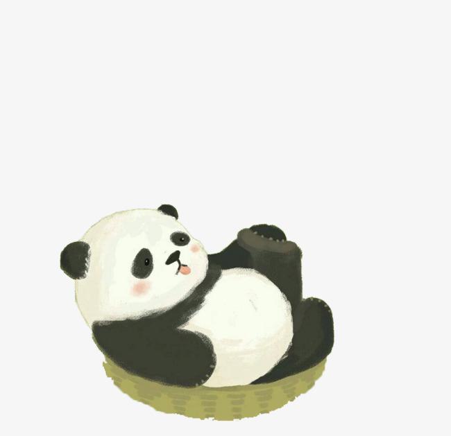 手绘稚气熊猫png素材-90设计