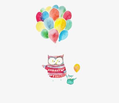 小清新手绘气球猫头鹰免扣素材