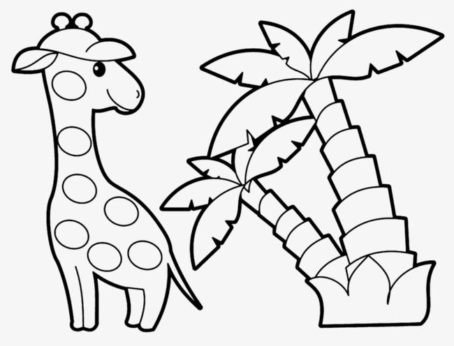 长颈鹿线稿图素材图片免费下载 高清卡通手绘png 千库网 图片编号5630428