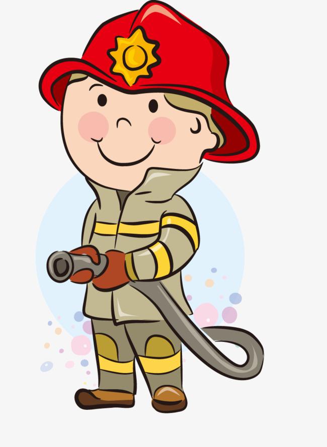 手绘消防员图片