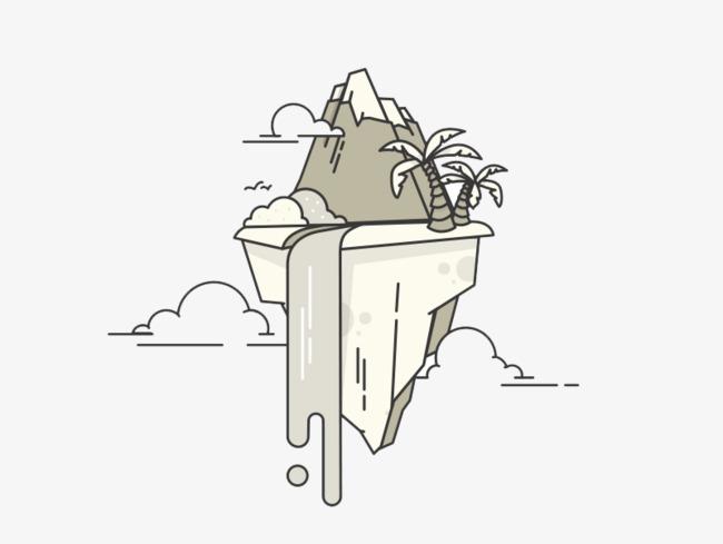 卡通创意漂浮小岛