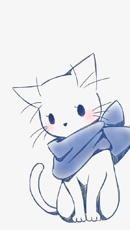 手绘白色猫咪