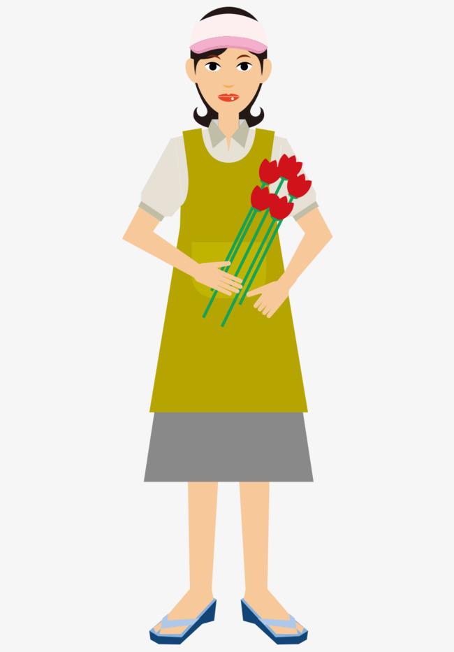 卡通手绘戴帽子拿花花艺师
