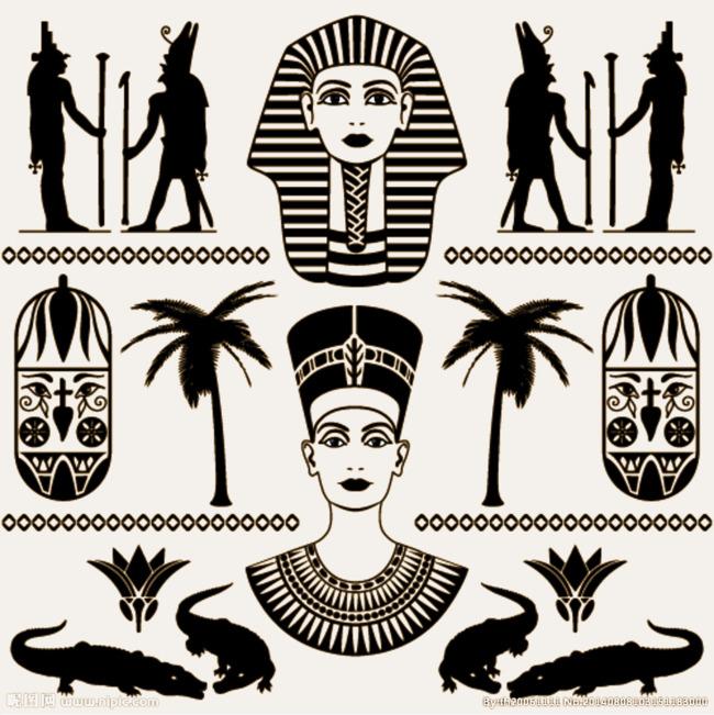 埃及图腾 剪影 免抠素材 高清素材             此素材是90设计网