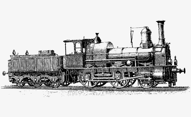 手绘黑白古老欧洲火车