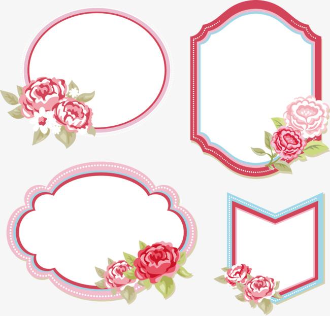 矢量手繪花朵裝飾邊框