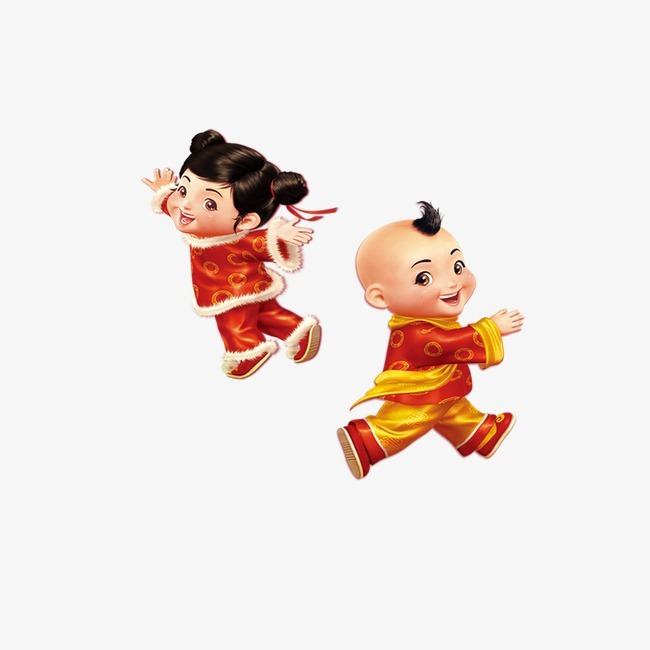 中国娃娃善财童子金童玉女【高清png素材】-90设计图片