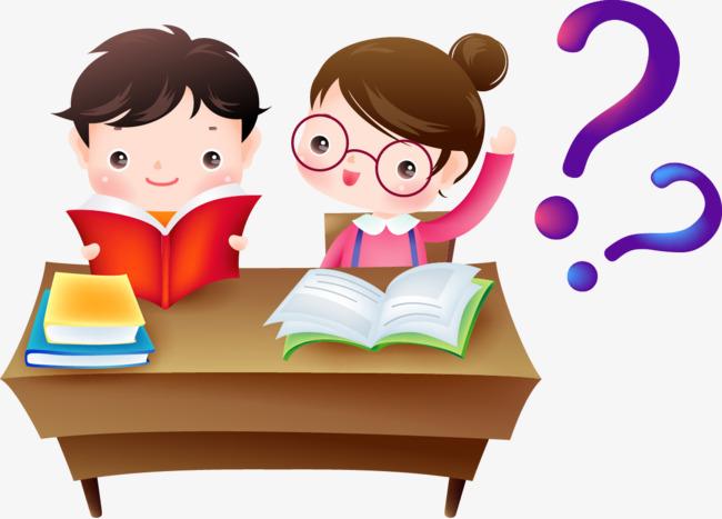 小学生_一起读书的两个小学生