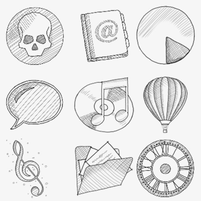 铅笔画图标热气球音乐符号文件夹信息-铅笔画图标素材图片免费下载