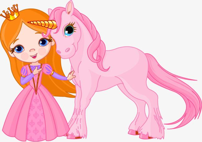 粉红色小公主和独角兽时尚插画素材图片免费下载 高清卡通手绘psd
