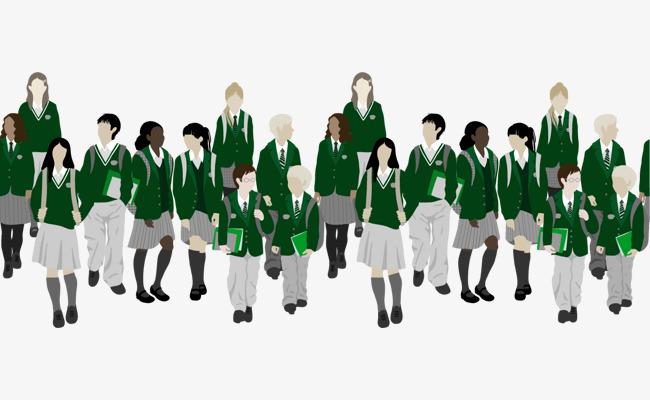 矢量手绘绿色校服