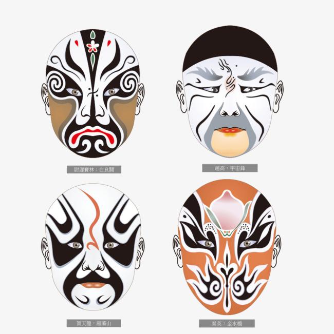 四个不同表情的中国曲艺脸谱图片