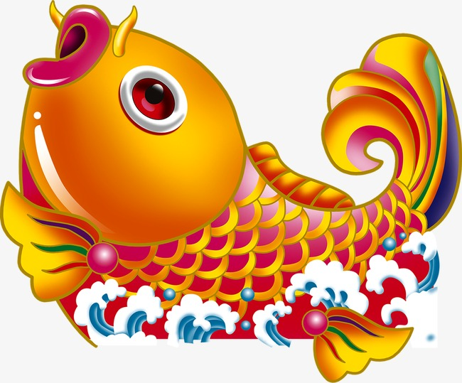 创意矢量卡通金鱼鲤鱼素材图片
