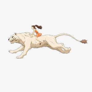 小女孩骑着老虎