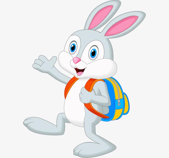 卡通手绘上学背书包兔子