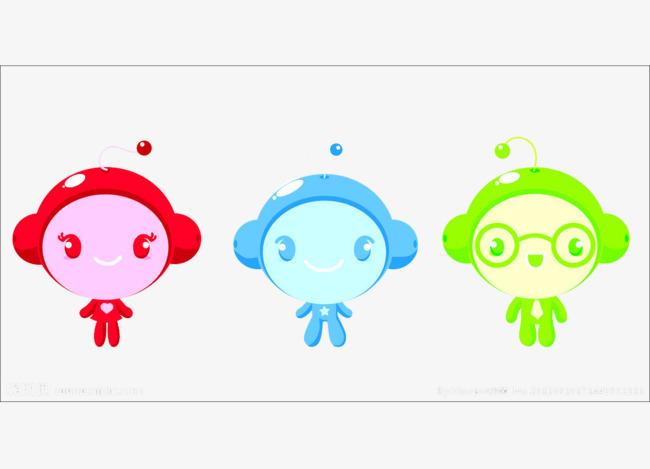 红蓝绿可爱卡通人物