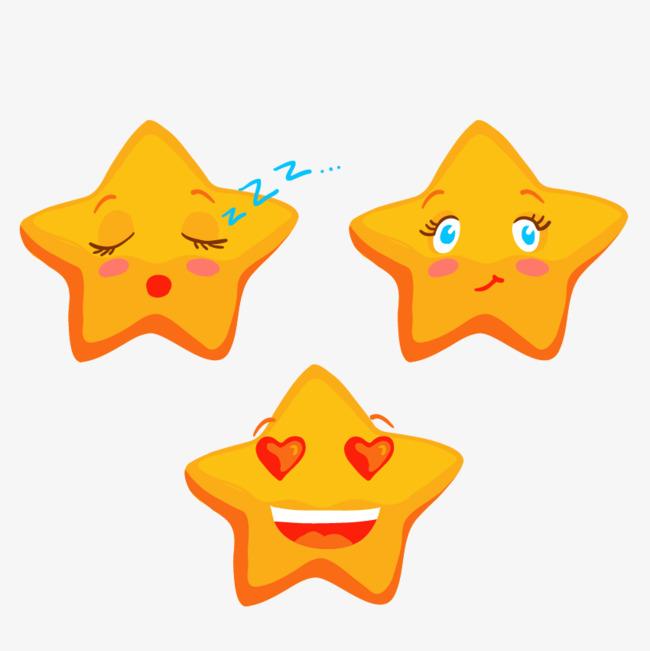 手绘表情小星星【高清png素材】-90设计