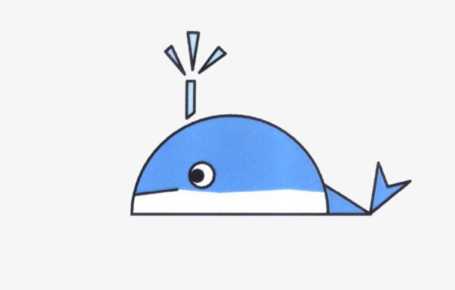手绘蓝色鲸鱼