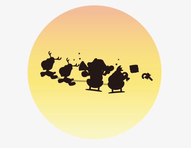 淡黄色圆月亮卡通小人剪影图片