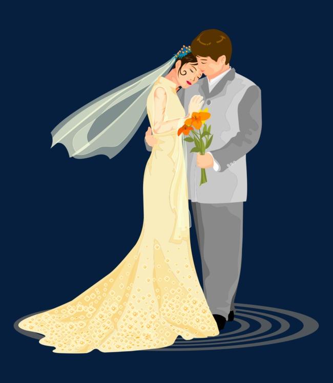 手绘卡通拥抱结婚婚纱男女