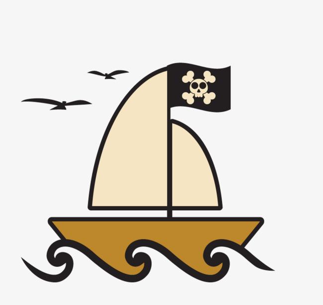 矢量手绘卡通海盗船