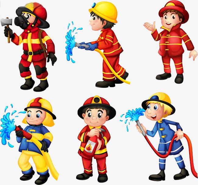 手绘卡通消防员素材