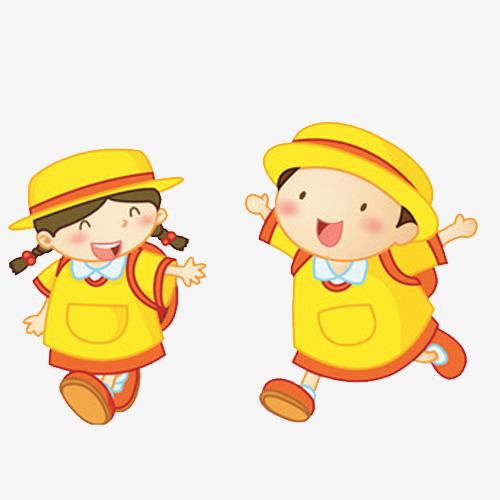 手绘黄色衣服男女孩背书包素材
