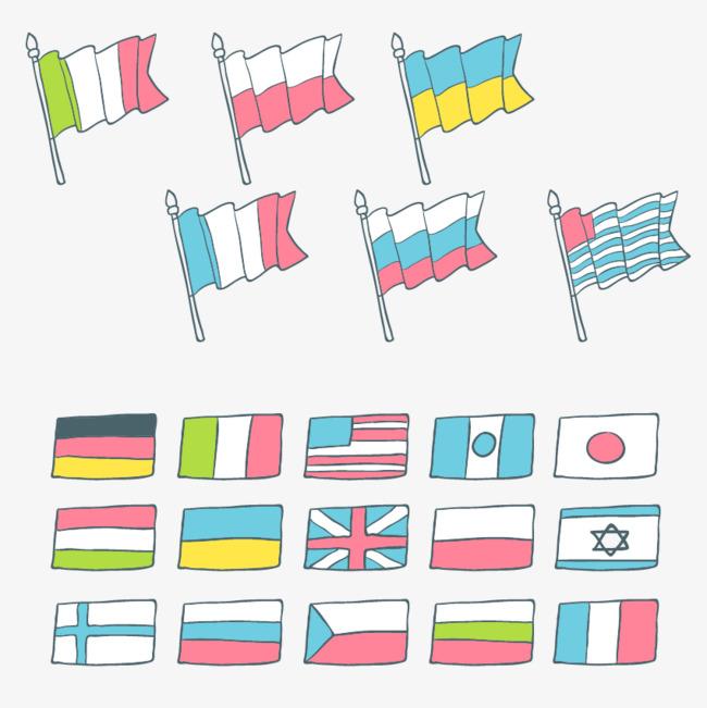 手绘彩色国旗