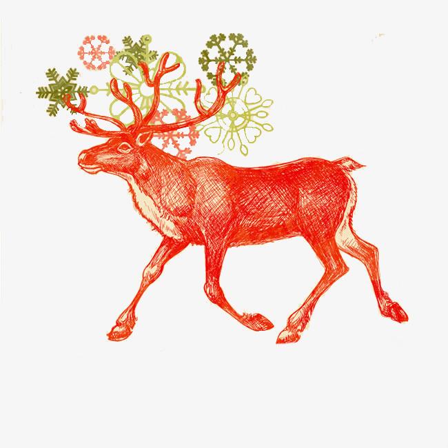 卡通手绘可爱梅花鹿