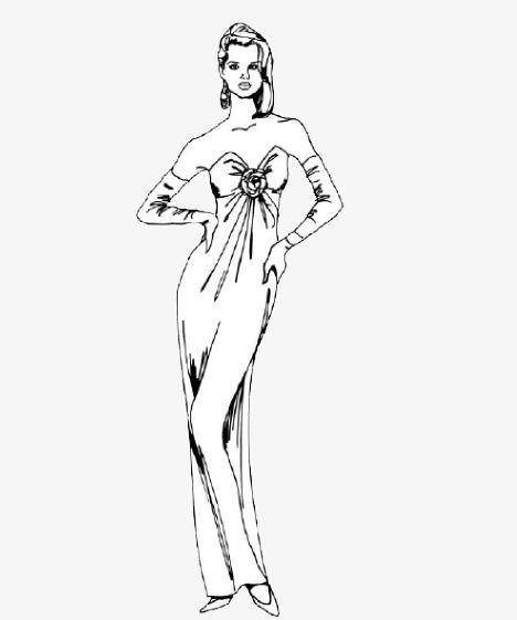手绘舞会礼服女人
