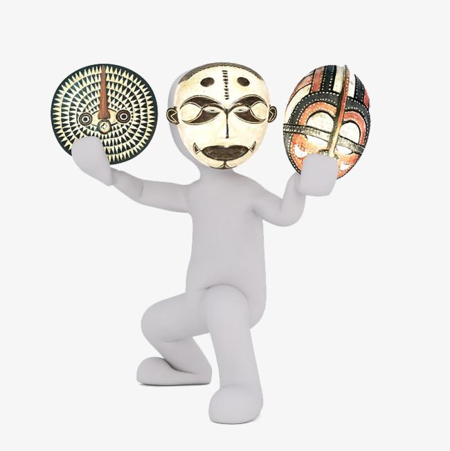 拿着面具的小白人png素材-90设计