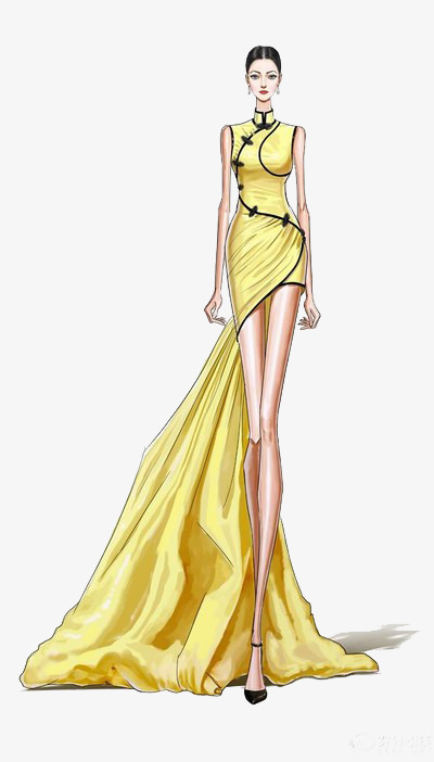 旗袍设计绘图图片