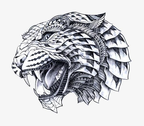 手绘创意花纹狮子