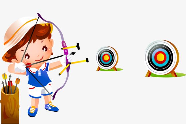 卡通手绘开心射箭可爱小女孩图片