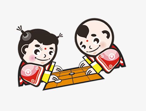 下围棋的孩子素材图片免费下载 高清卡通手绘png 千库网 图片编号