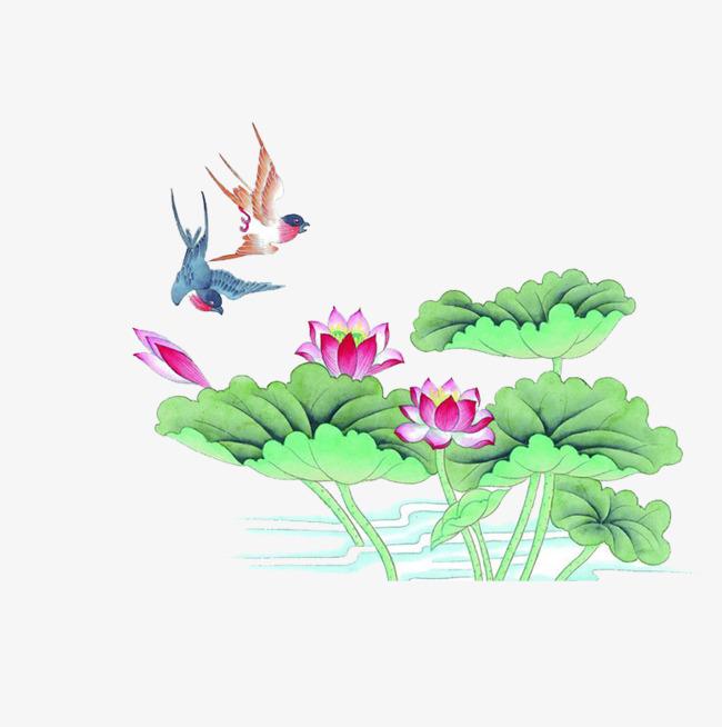绿色 荷叶 小鸟 风景 装饰             此素材是90设计网官方设计出
