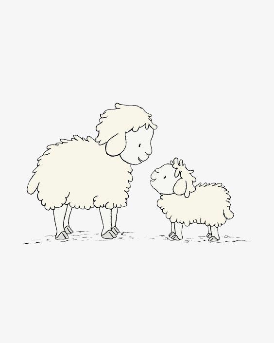 png手绘动漫素材免费下载,本次绵羊母子作品为设计师雪地小猴子创作
